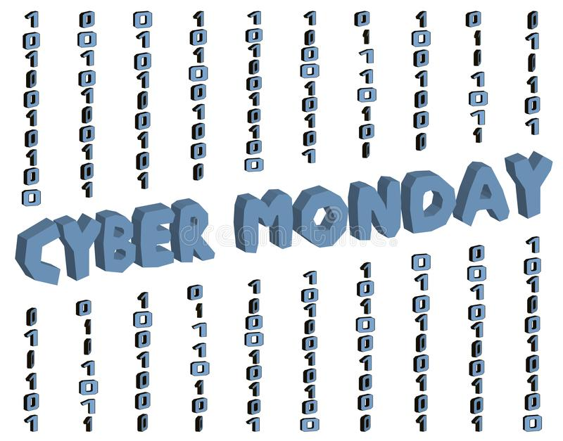 Cyber monday sign. Vector 3d text with binary code on the white background background. Concept drawing for logo, label vector illustration