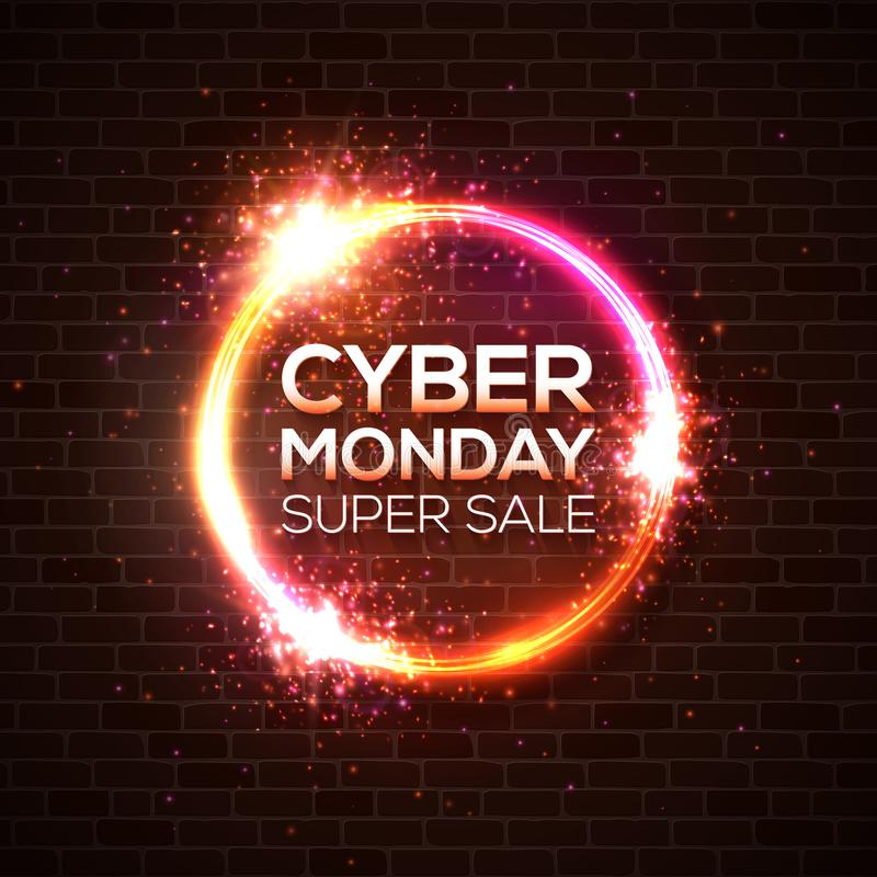 Cyber Monday super sale, discount card concept. vector illustration