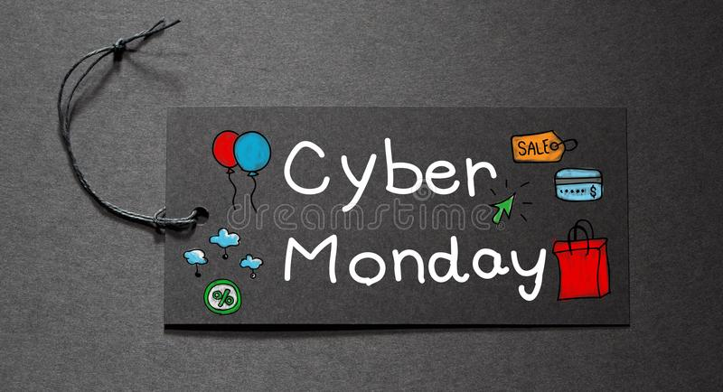 Cyber Monday text on a black tag stock image