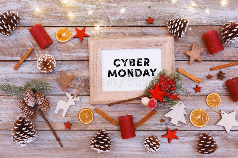Cyber Monday text in frame on christmas flat lay stock images