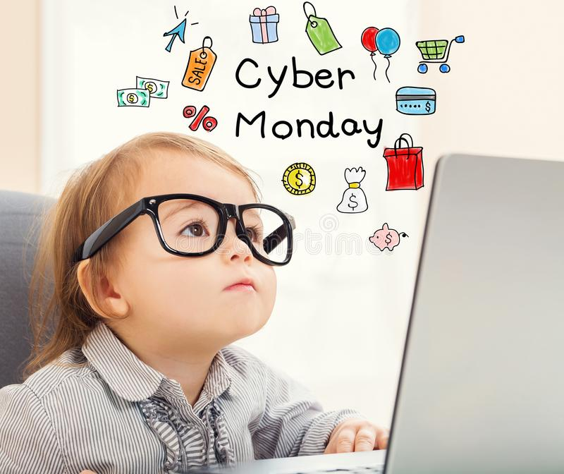 Cyber Monday text with toddler girl royalty free stock photography