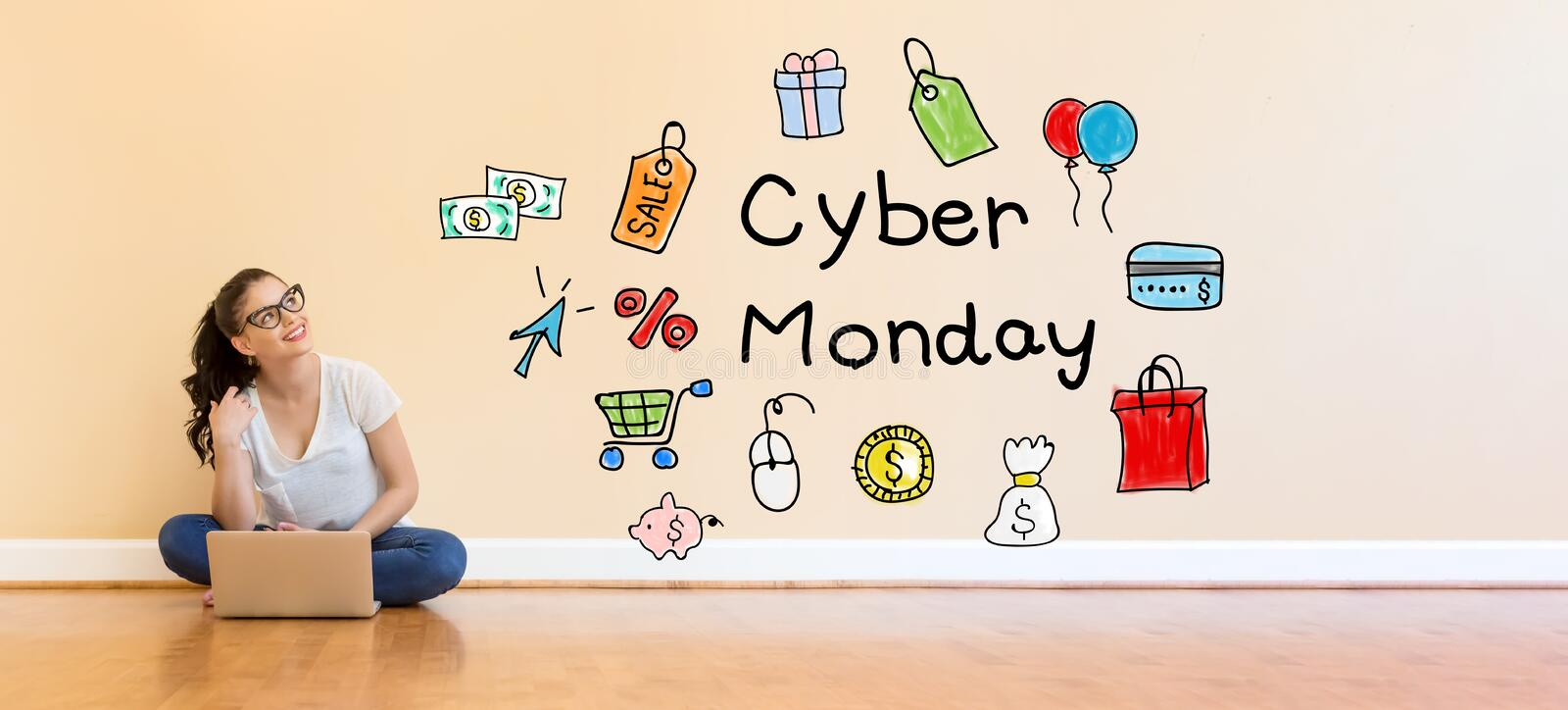 Cyber Monday text with young woman using a laptop computer royalty free stock photos