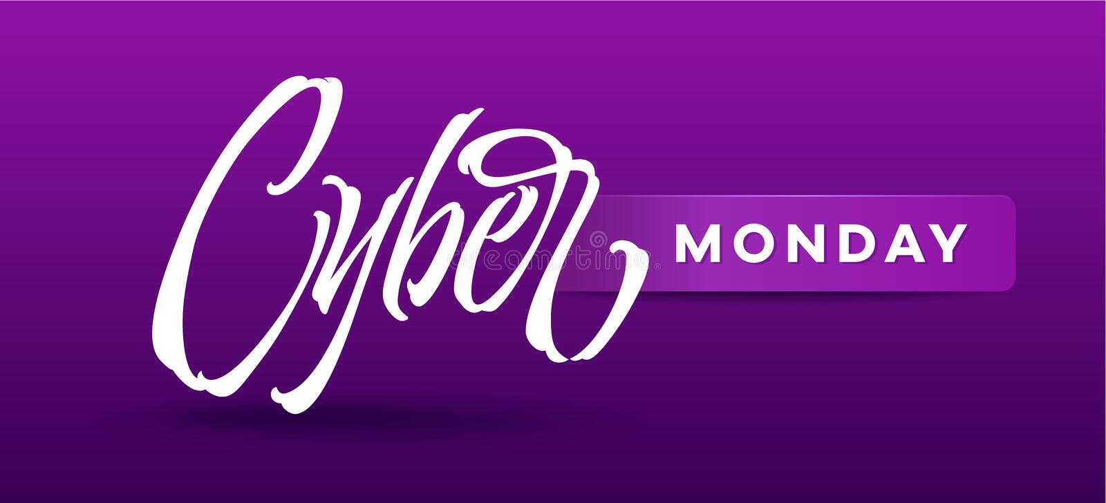 Cyber Monday typography for card, banners, ads, advertising brochures, booklet royalty free illustration