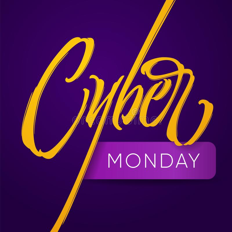 Cyber Monday typography. Yellow inscription Cyber and stylish letters Monday on a dark purple background. royalty free illustration