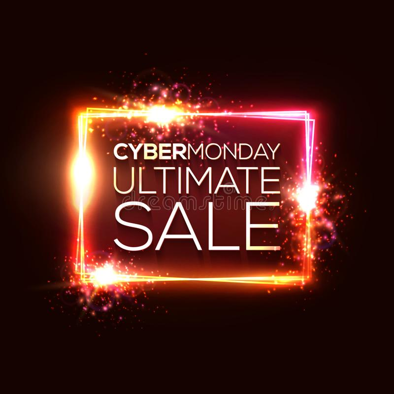 Cyber Monday ultimate sale text in neon rectangle. vector illustration