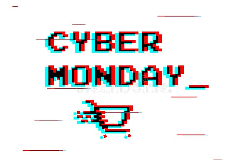 Cyber Monday white label or advertising  tag with shopping cart, royalty free stock photography