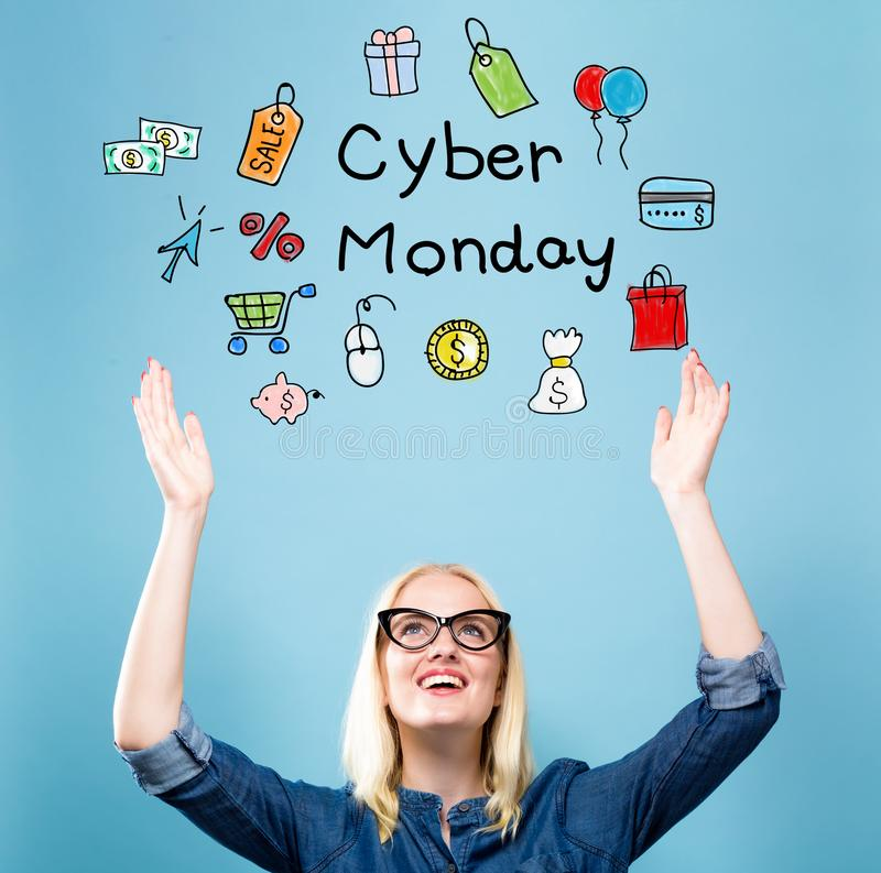 Cyber Monday with young woman stock photo