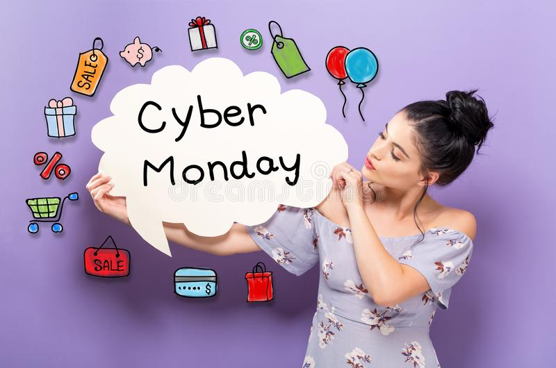 Cyber Monday with woman holding a speech bubble stock photos