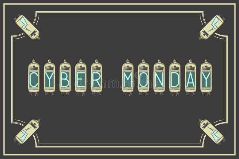 Cyber Mondey Ilustra??o do vetor Estilo do vintage retro amp?res ilustração royalty free