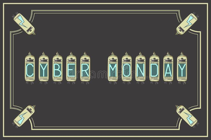 Cyber Mondey.Vector illustration. Vintage style. Retro. Amps royalty free illustration