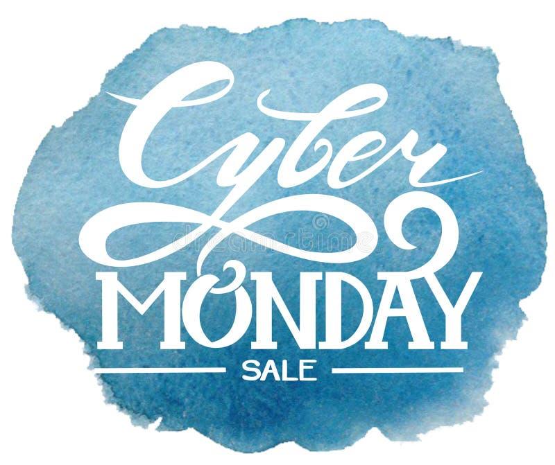 Cyber Montag beschriftung Vektorgrafik, Verkauf lizenzfreie stockfotografie