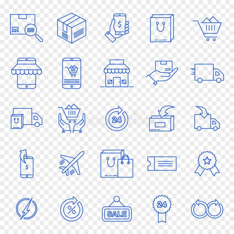 Cyber-Montag-Einkaufsikonensatz lizenzfreie abbildung