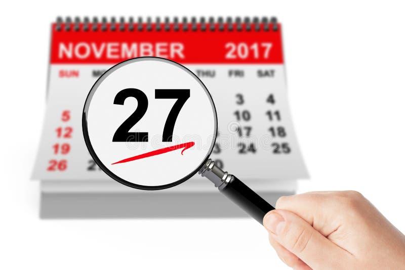 Cyber-Montag-Konzept 27. November 2017 Kalender mit Vergrößerungsglas lizenzfreie stockbilder