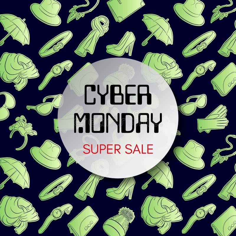 Cyber-Montag-Quadratfahne Leuchtstoffmode-accessoires auf einem dunklen Hintergrund Superverkaufs-Aufschrift Vektor lizenzfreie abbildung