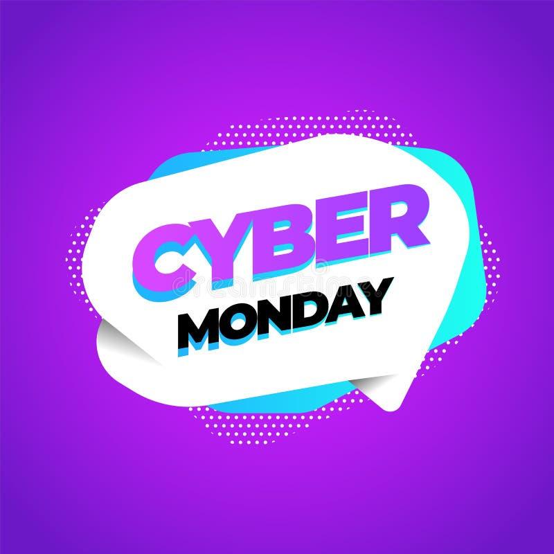 Cyber Montag, Rabattverkaufskonzept Aufschriftdesignschablone Cyber-Montag-Fahne Auch im corel abgehobenen Betrag vektor abbildung