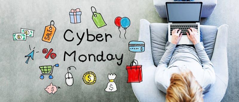 Cyber-Montag-Text mit Mann lizenzfreie stockfotos