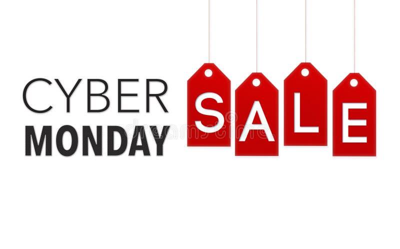 Cyber-Montag-Verkaufs-Fahne auf dem roten Hängen etikettiert vektor abbildung