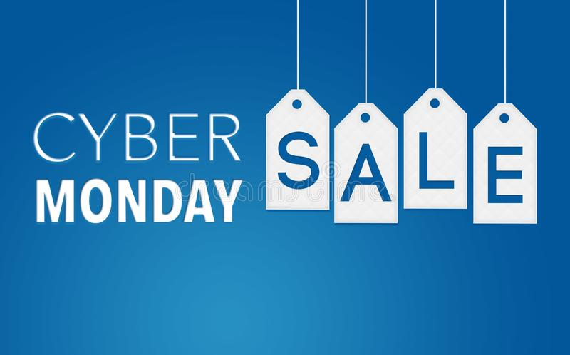 Cyber-Montag-Verkaufs-Fahne auf weißen hängenden Tags und blauem Hintergrund vektor abbildung