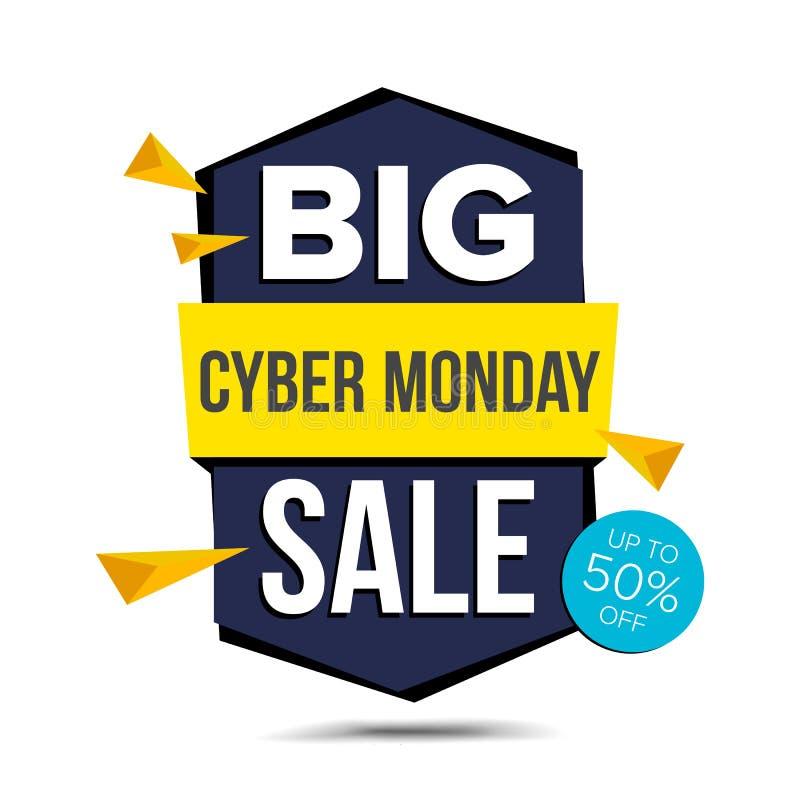 Cyber-Montag-Verkaufs-Fahnen-Vektor Bekanntmachen des Plakats Rabatt und Förderung November-Tag-und -aufkleber-Design Getrennt lizenzfreie abbildung