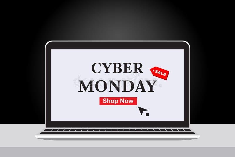 Cyber-Montag-Verkaufs-Fahnentext innerhalb des Notizbuches, Klicken zu kaufen Unter Verwendung der Tabelle und des schwarzen Stei vektor abbildung