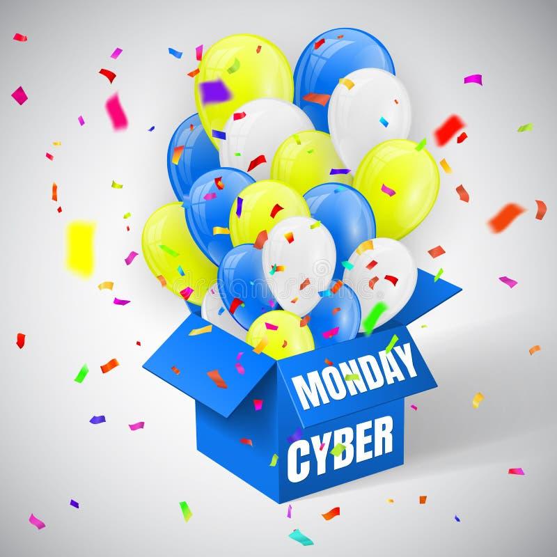 Cyber-Montag-Verkaufs-Plakat mit Konfettis, Blau, Gelben und weißen glänzenden Ballonen bündeln Fliegen vom offenen blauen Kasten stock abbildung
