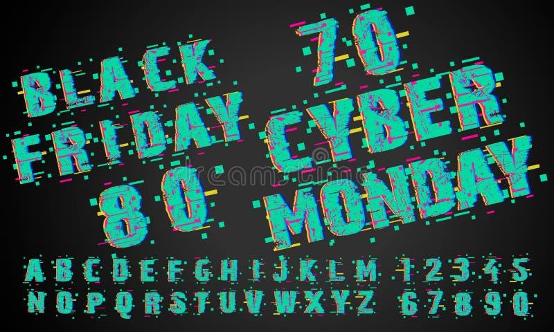 Cyber-Montag-Verkaufs-Zusammenfassungs-Vektor-Karte, Flayer oder Plakat-Schablone Moderne Typografie, Pixel und Störschub-Effekt  lizenzfreie abbildung