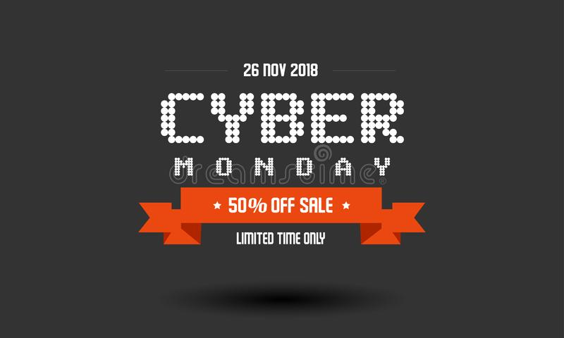 Cyber-Montag-Verkaufsaufkleber-Designschablone lizenzfreies stockbild