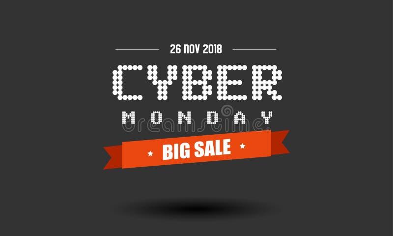 Cyber-Montag-Verkaufsaufkleber-Designschablone stockbilder