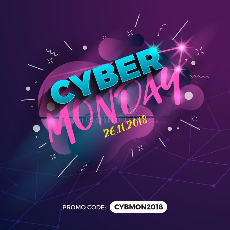 Cyber-Montag-Verkaufsförderungs-Fahnen-Hintergrund mit Promo-Code-FI stock abbildung
