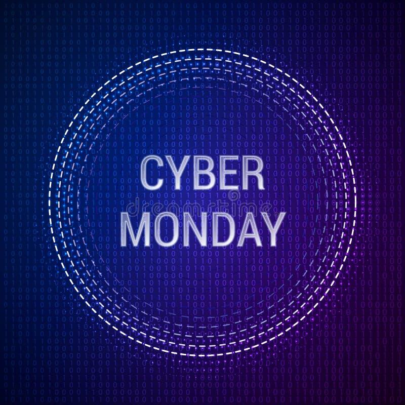 Cyber-Montag-Verkaufsvektor-Fahnenschablone auf binärem Hintergrund Vektorabbildung ENV-10 lizenzfreie abbildung