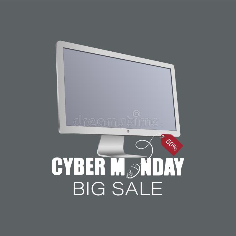 Cyber Montag Weißer Monitor, Computermaus mit Verkaufsaufkleber vektor abbildung
