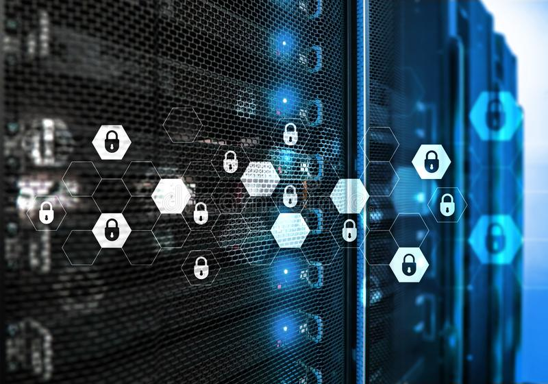 Cyber ochrona, dane ochrona, ewidencyjna prywatność Interneta i technologii pojęcie fotografia stock