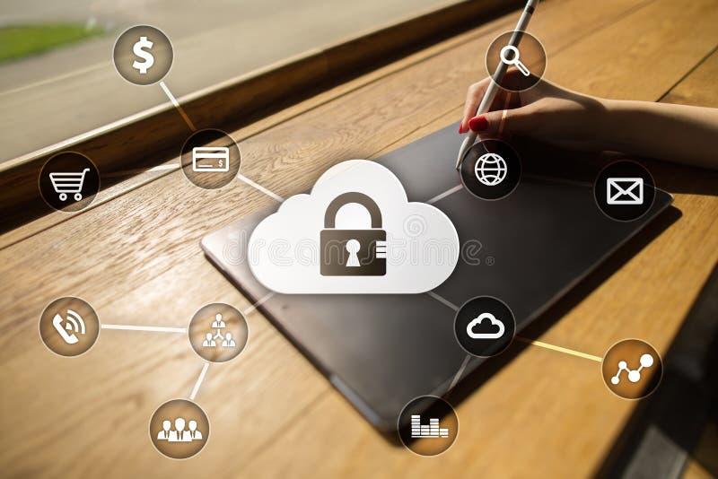 Cyber ochrona, dane ochrona, ewidencyjny bezpieczeństwo i utajnianie, internet technologia i biznesu pojęcie obrazy stock