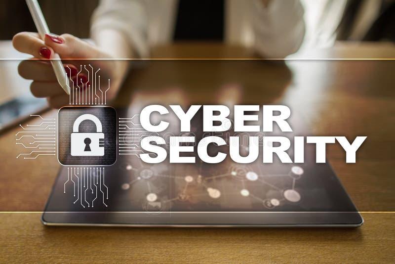 Cyber ochrona, dane ochrona, ewidencyjny bezpieczeństwo i utajnianie, internet technologia i biznesu pojęcie obraz stock