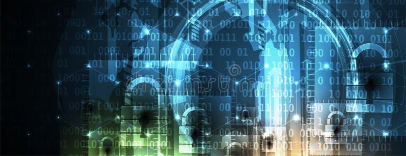 Cyber ochrona i ochrona informaci lub sieci Przyszłość tec ilustracja wektor