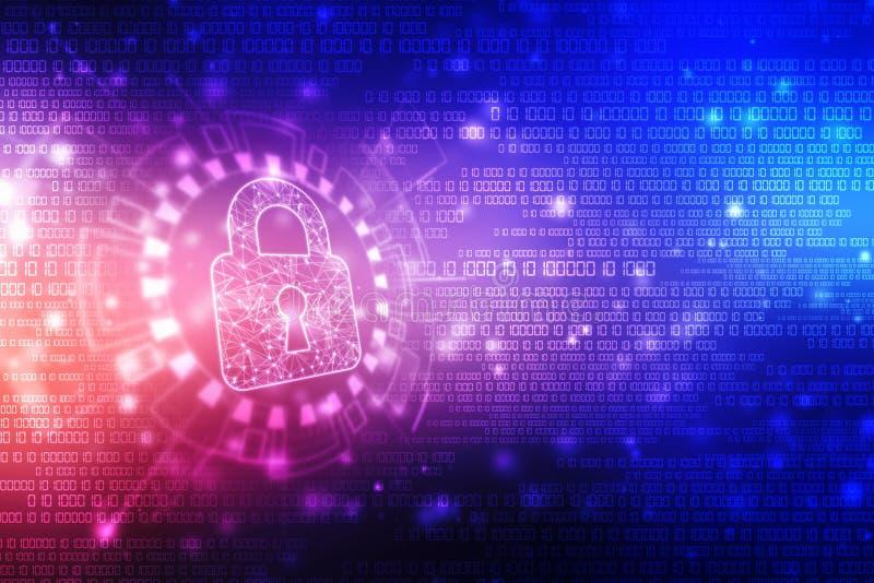 Cyber ochrona i ochrona informaci lub sieci Przysz?o?ciowa cyber technologia Kędziorek na cyfrowym ekranie ilustracja wektor