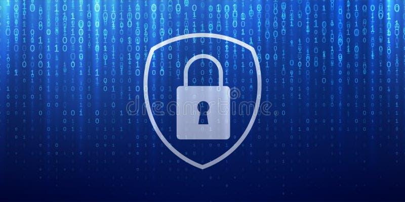 Cyber ochrona i online dane prywatności ochrona royalty ilustracja