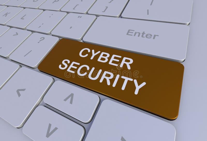 CYBER ochrona, wiadomość na klawiaturze ilustracja wektor