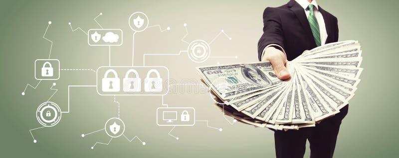 Cyber ochrona z biznesowym mężczyzna z gotówką obraz stock
