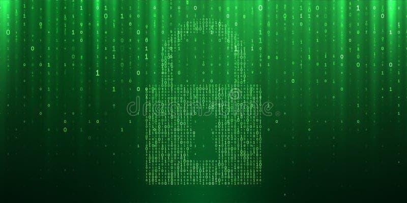 Cyber ochrony dane prywatności binarny matrycowy kędziorek ilustracja wektor