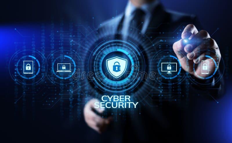 Cyber ochrony ochrona danych prywatności interneta technologii ewidencyjny pojęcie ilustracji
