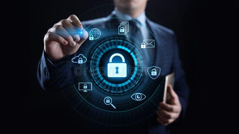 Cyber ochrony ochrona danych prywatności interneta technologii ewidencyjny pojęcie ilustracja wektor