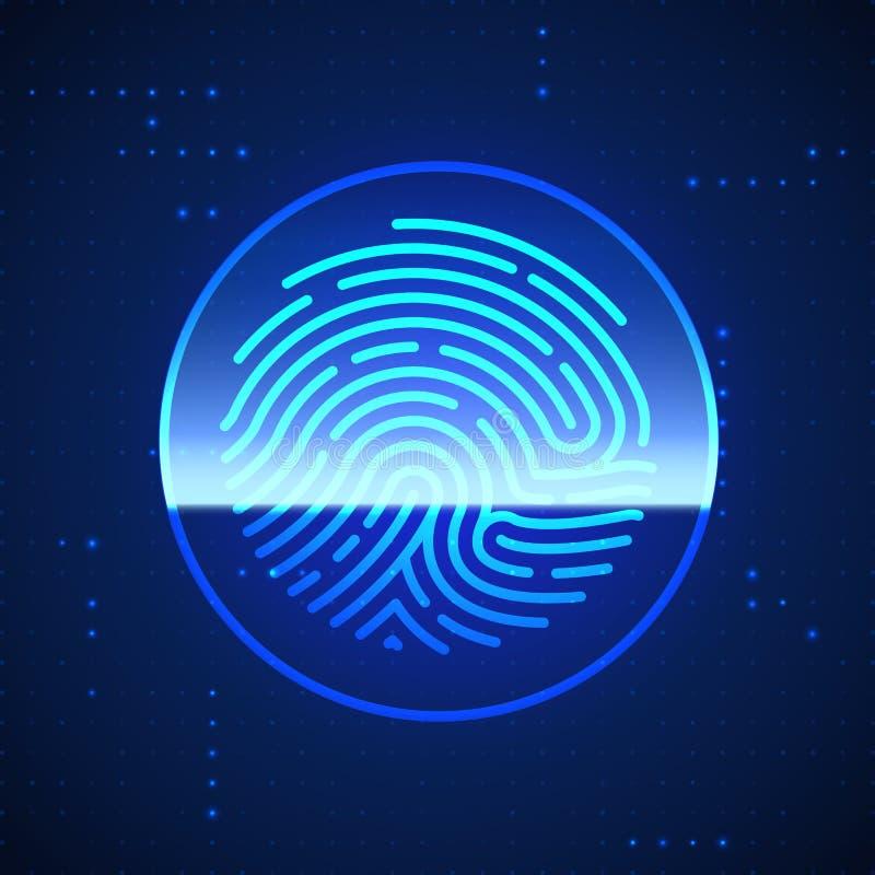 Cyber ochrony odcisk palca Skanujący Odcisk palca Skanuje To?samo?ciowego system Biometryczny autoryzaci i ochrony poj?cie ilustracji