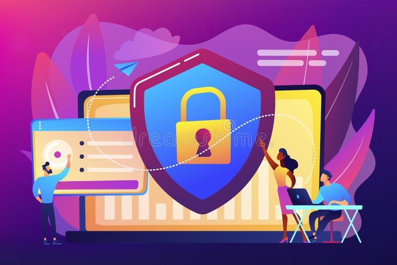 Cyber ochrony pojęcia wektoru ilustracja royalty ilustracja