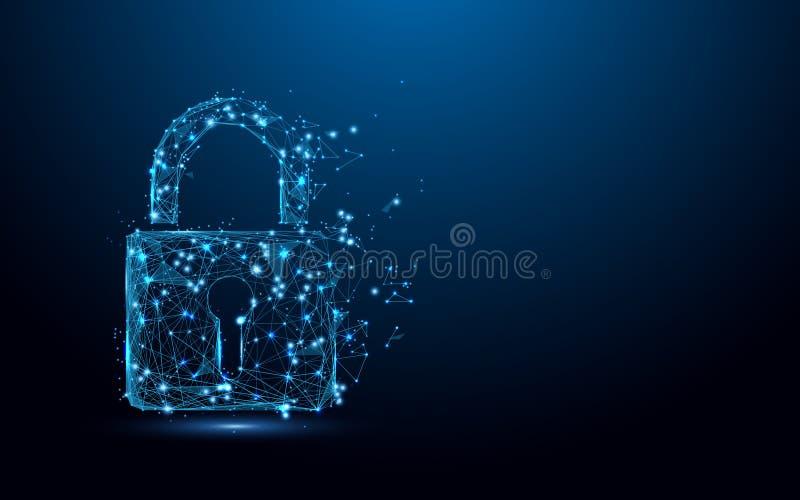 Cyber ochrony pojęcie Blokuje symbol od linii i trójboków, punkt złączona sieć na błękitnym tle ilustracji