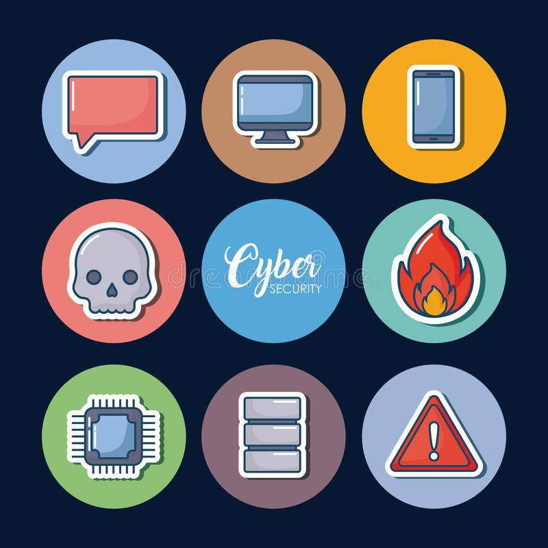 Cyber ochrony projekt royalty ilustracja