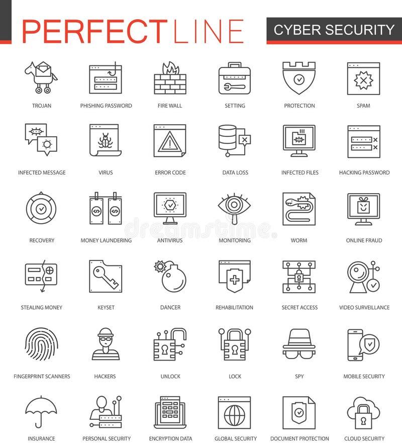 Cyber ochrony sieci cienkie kreskowe ikony ustawiać Sieć konturu uderzenia ikon zbawczy projekt ilustracja wektor