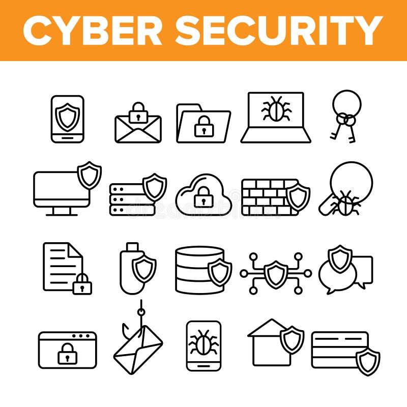Cyber ochrony wektoru Cienkie Kreskowe ikony Ustawiać ilustracja wektor