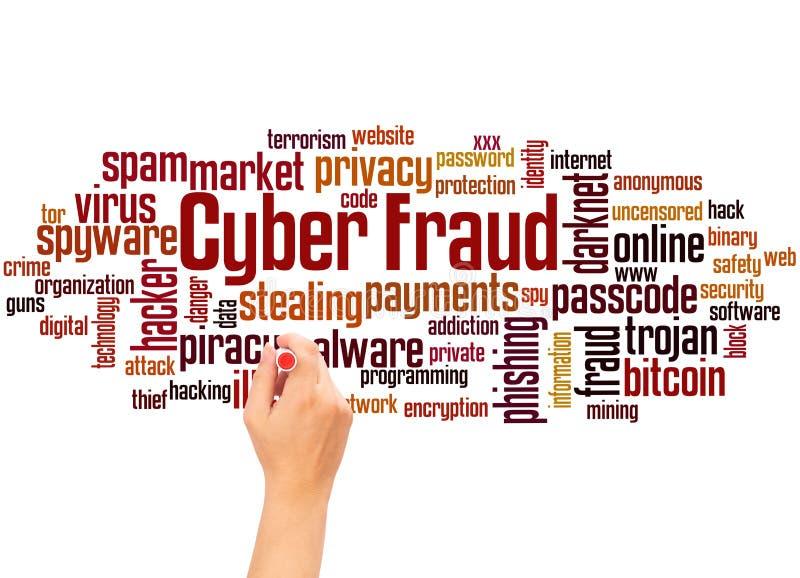 Cyber oszustwa słowa ręki i chmury writing pojęcie zdjęcie stock
