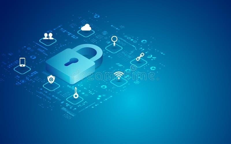 Cyber padlock royalty free illustration